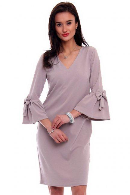 Sukienka koktajlowa kokardki CMK366 szara