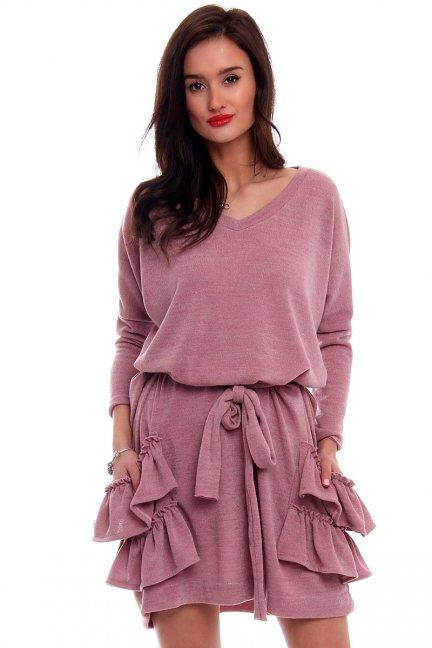 Sukienka kieszenie falbanki CMK369 różowa