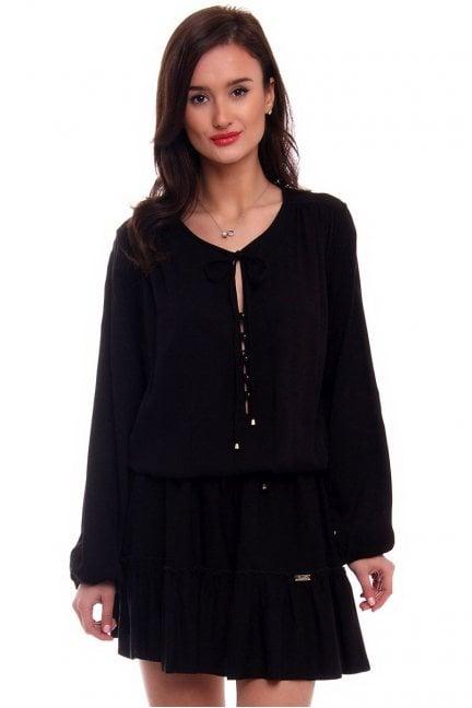 Sukienka damska z falbanką CMK371 czarna