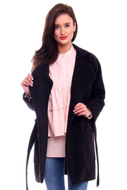 Płaszcz flauszowy kieszenie CM517-2 czarny