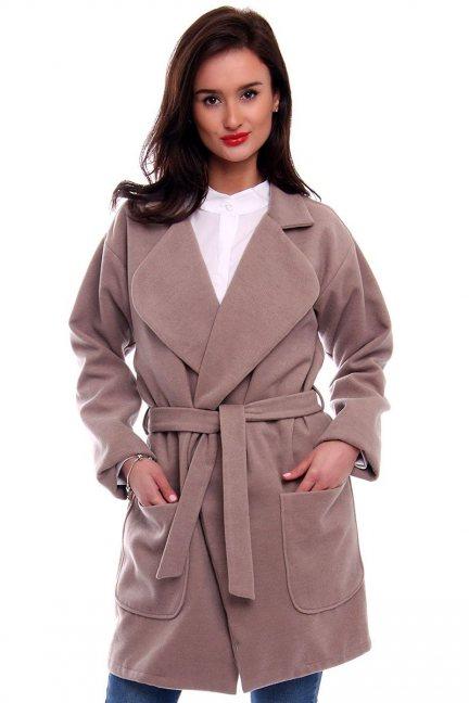 Płaszcz flauszowy kieszenie CM517-2 beżowy
