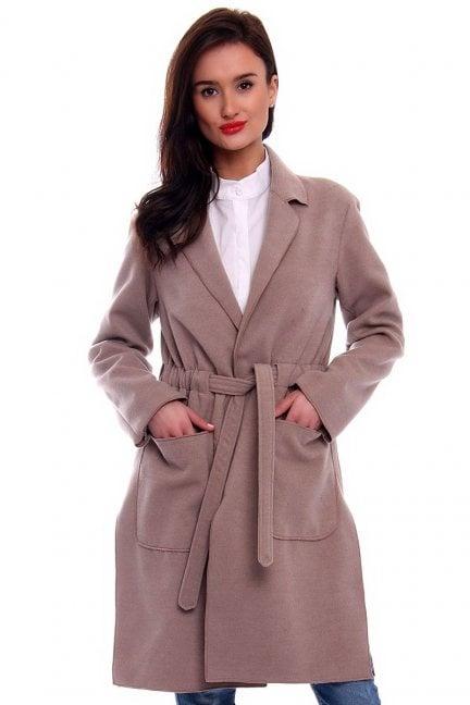 Płaszcz flauszowy damski CM516-1 beżowy