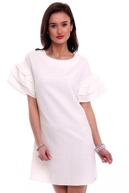 Sukienka z falbankami EMI ecru