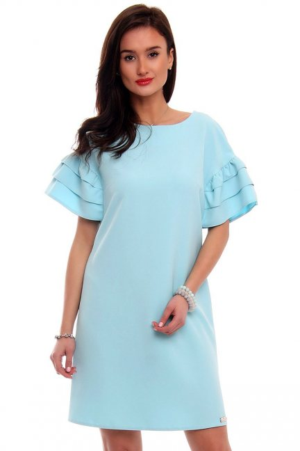 Sukienka z falbankami EMI błękitna