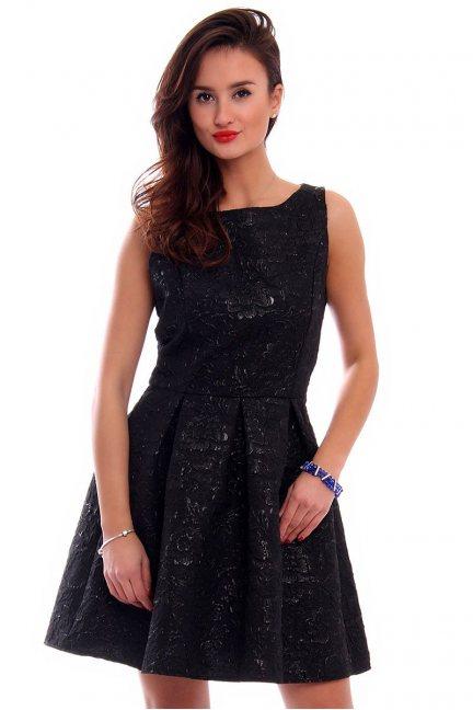 Sukienka żakardowa midi CMK294 czarna