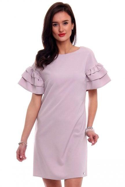 Sukienka z falbankami EMI CM479 szara