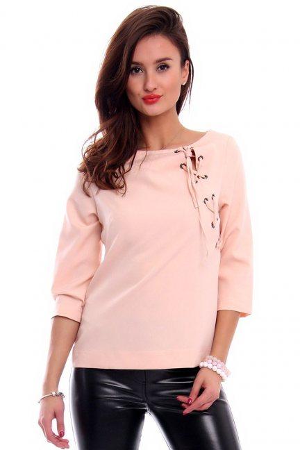 Bluzka elegancka wiązana CMK299 różowa