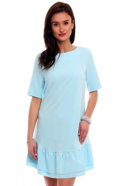 Sukienka z falbanką na dole CM483 błękitna