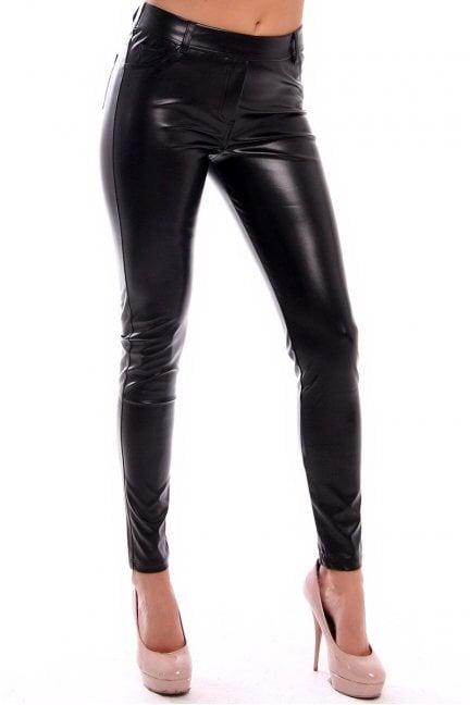 Spodnie skórzane rurki CMK922 czarne