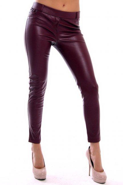 Spodnie skórzane rurki CMK922 bordowe