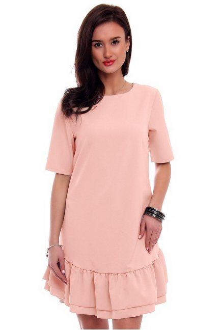 Sukienka z falbanką na dole CM483 różowa