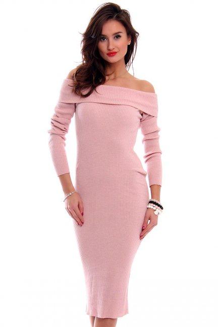 Sukienka ołówkowa midi CMK2025 różowa