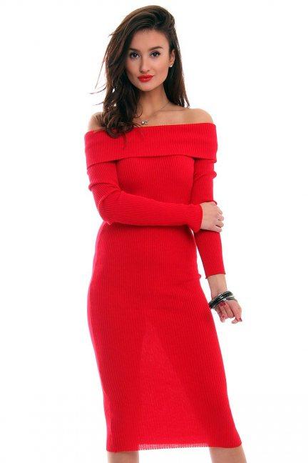 Sukienka ołówkowa midi CMK2025 czerwona