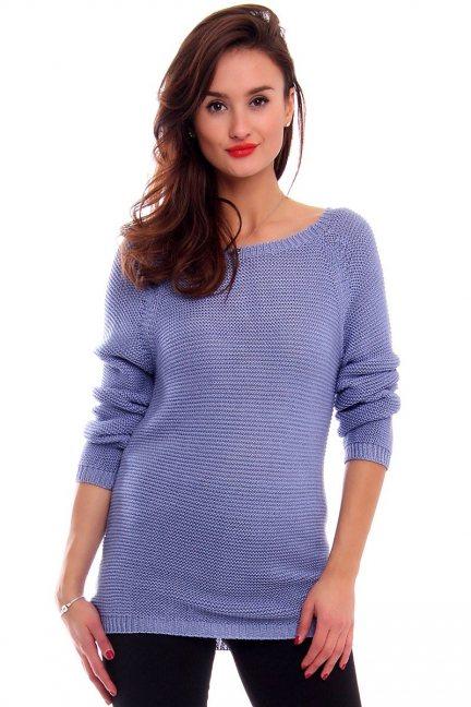 Sweter z ozdobną tasiemką CMK2031 niebieski