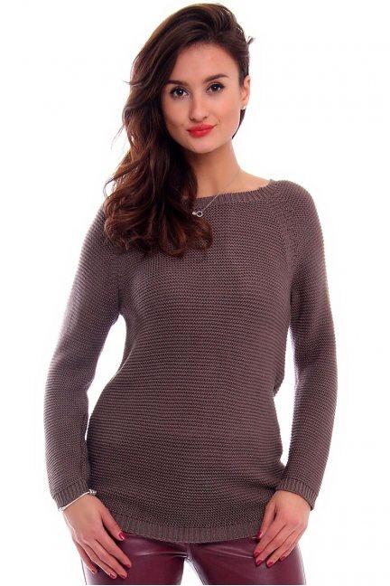 Sweter z ozdobną tasiemką CMK2031 brązowy