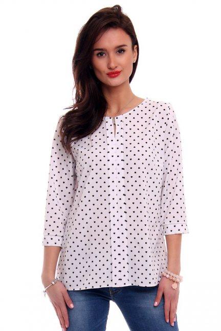 Bluzka damska w serca CMK375 biała
