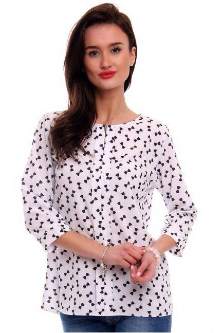 Bluzka damska w kokardki CMK375 biała