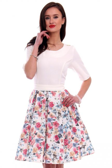 Sukienka rozkloszowana CM469 ecru