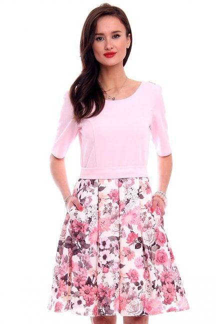 Sukienka rozkloszowana CM469 różowa