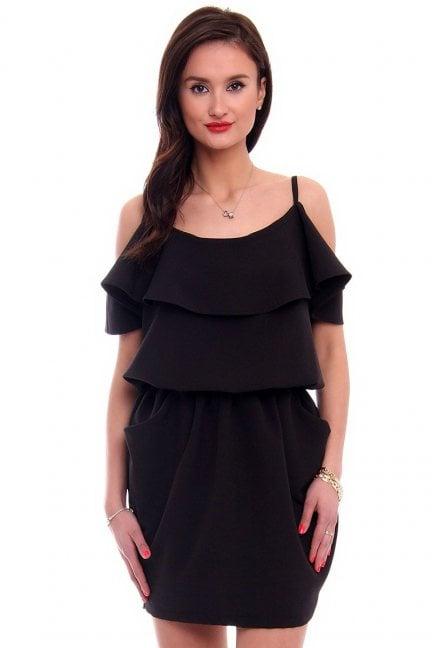 Sukienka mini hiszpanka z falbanką czarna