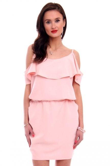 Sukienka mini hiszpanka z falbanką różowa