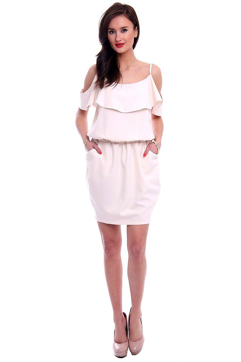 a631440572 Sukienka hiszpanka z falbanką CM529 ecru odzież damska CosmosModa