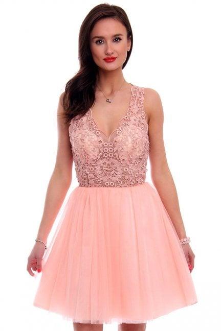 Sukienka tiulowa mini CMW08 różowa