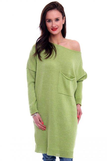 Tunika sukienka sweter CMK2041 zielony