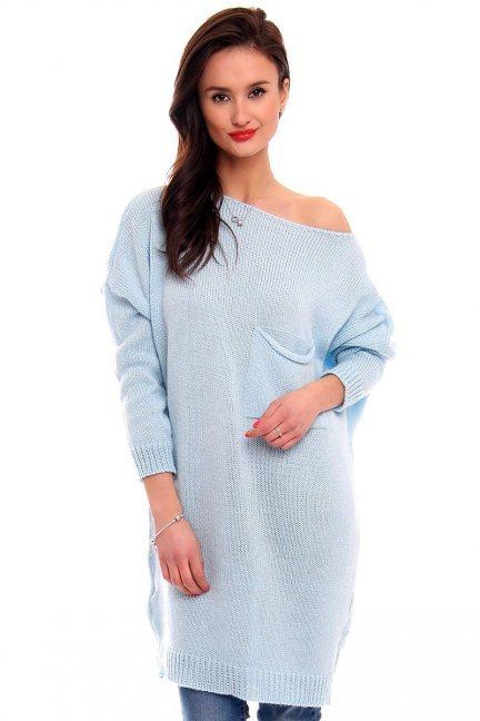Tunika sukienka sweter CMK2041 błękitny