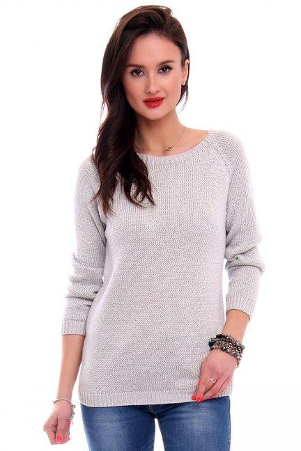 Sweter z odkrytymi plecami CMK2043 szary