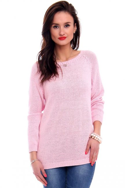 Sweter z odkrytymi plecami CMK2043 różowy
