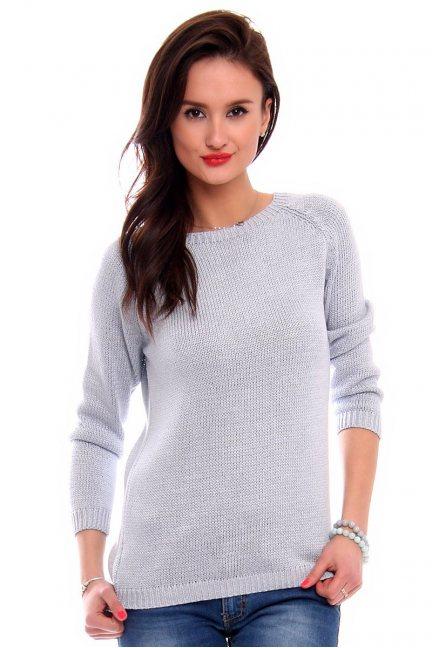 Sweter z odkrytymi plecami CMK2043 błękitny