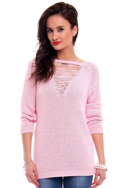 Sweter ozdobny dekolt CMK2044 różowy