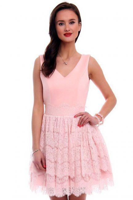 Sukienka pianka z koronką CMK378 różowa