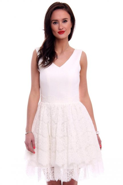 Sukienka pianka z koronką CMK378 ecru