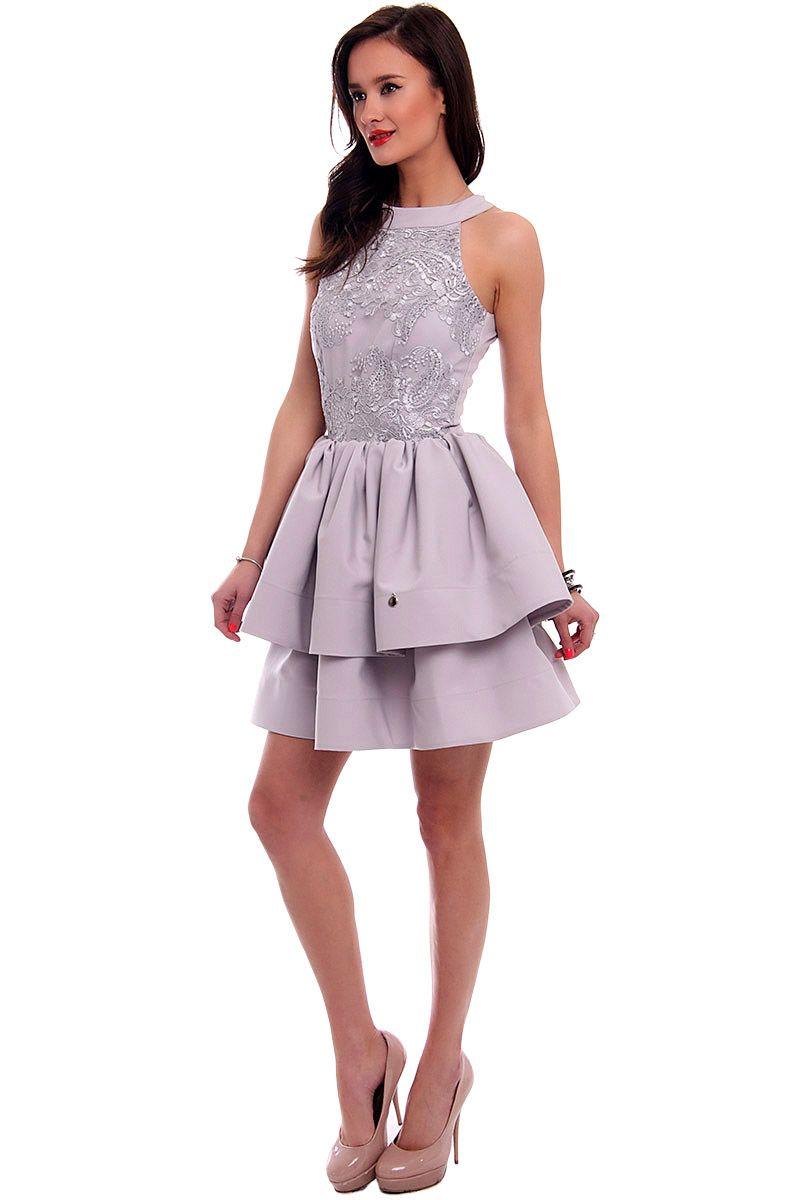 Wyjątkowy Sukienka rozkloszowana CMK307 szara - Sukienki z koronki - CosmosModa #EX-82