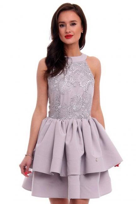 Sukienka rozkloszowana CMK307 szara