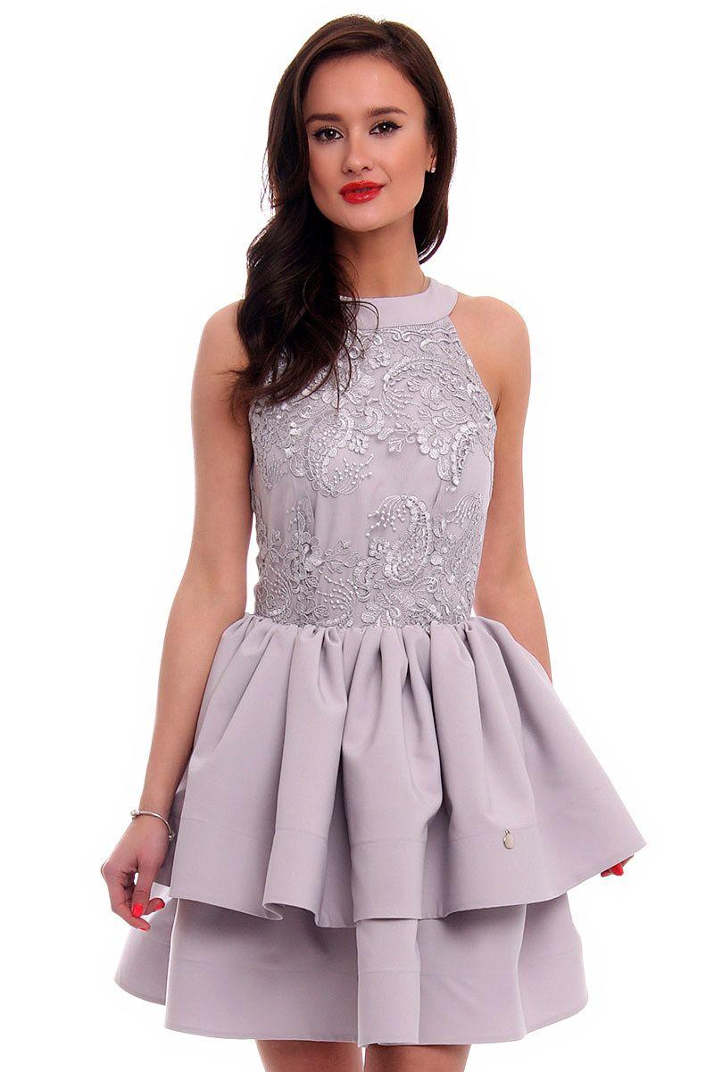 ff299291a7 Sukienka rozkloszowana CM549 granatowa modne sukienki sklep CosmosModa