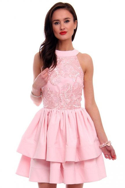 Sukienka rozkloszowana CMK307 różowa