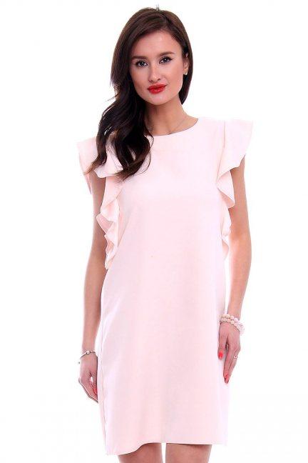 Sukienka trapez z falbankami CMK379 różowa