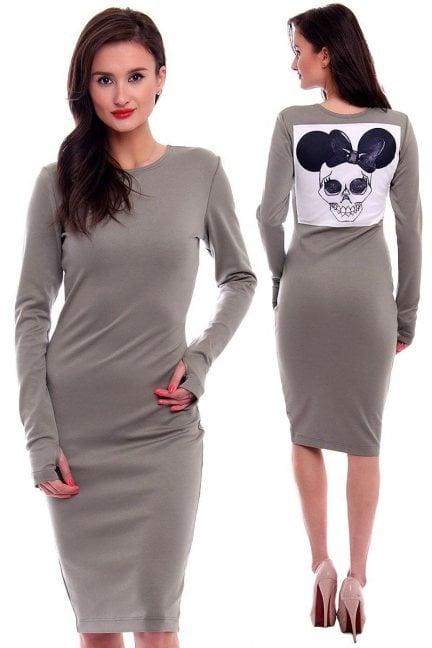 Sukienka z Myszką Minnie CMK381 szara