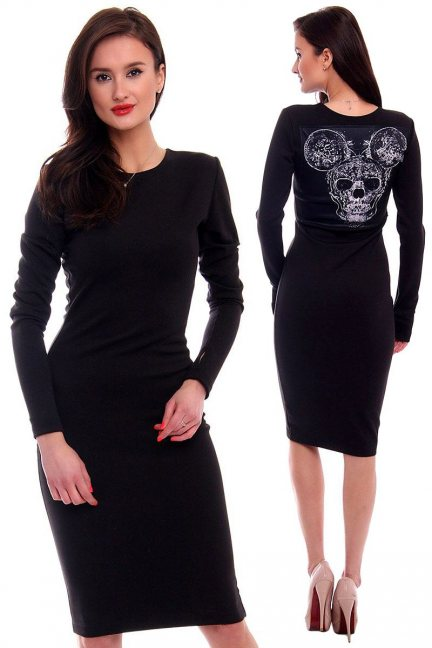 Sukienka Miki Czaszka CMK381 czarna