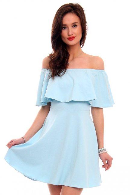 Sukienka hiszpanka klosz CM437 błękitna
