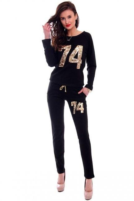 Dres damski z cekinami CMK383 czarne
