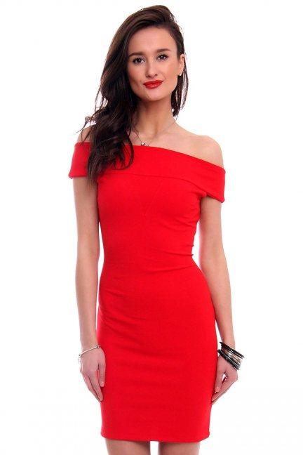 Sukienka dopasowana mini CM571 czerwona