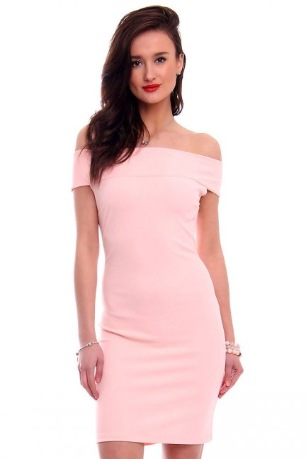 Sukienka dopasowana mini CM571 różowa