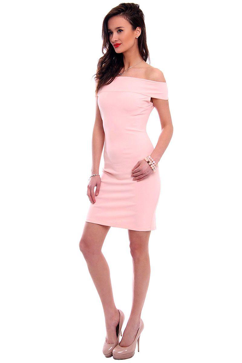 9154996f1e Sukienka dopasowana mini CM571 pudrowy róż sukienki online CosmosModa