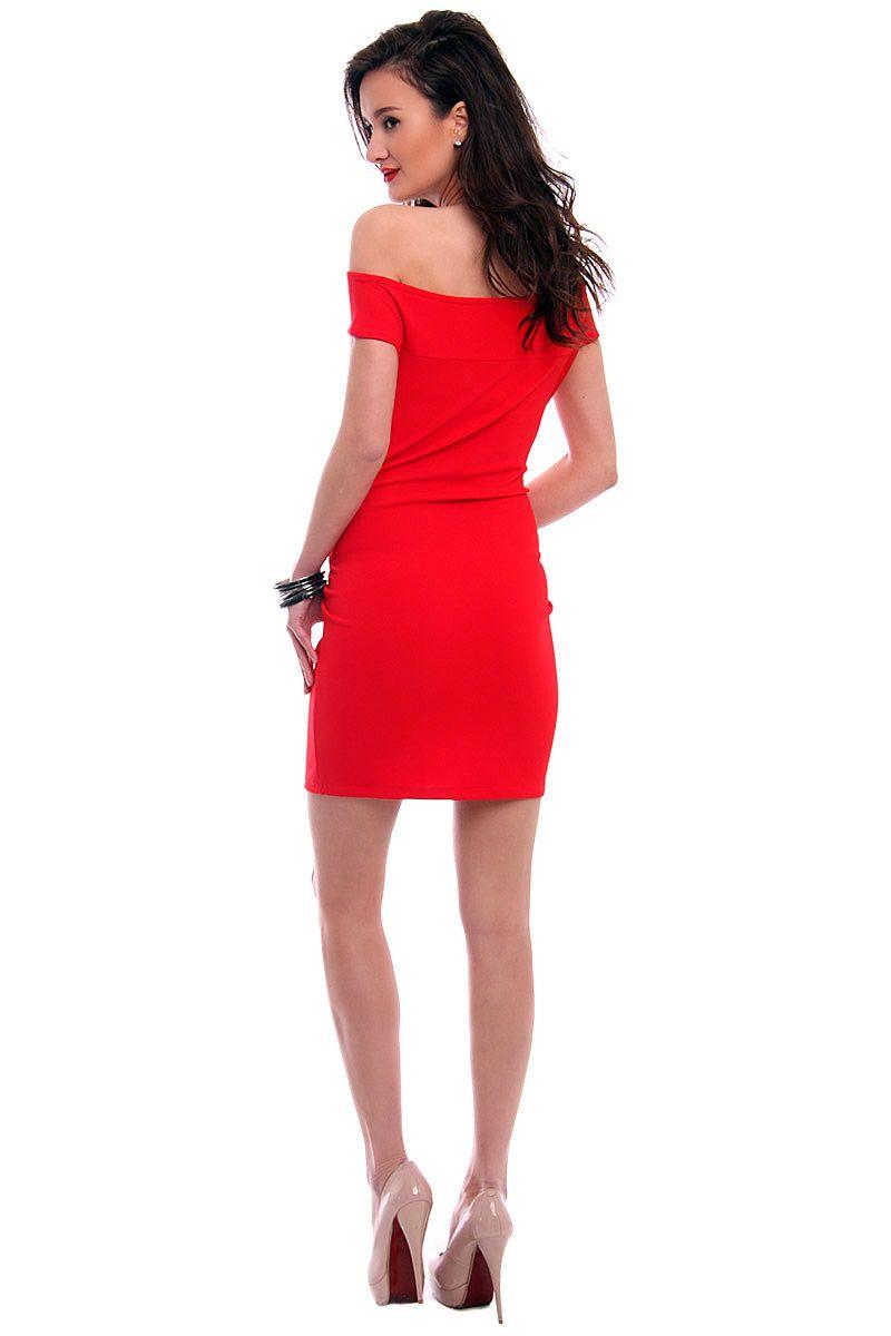 31dfaea99f Sukienka dopasowana mini CM571 czerwona modne sukienki CosmosModa