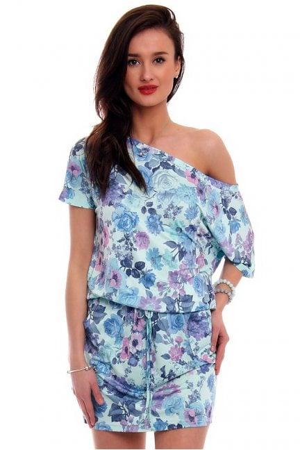 Sukienka wiązana w kwiaty CM142 niebieska