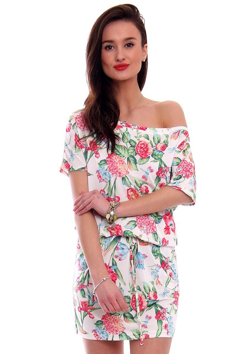 828eab410c Sukienka wiązana w kwiaty CM142 biała sukienki sklep online CosmosModa